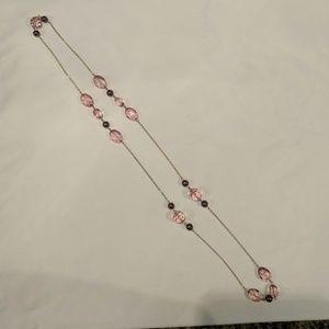 Gold & purple long necklace